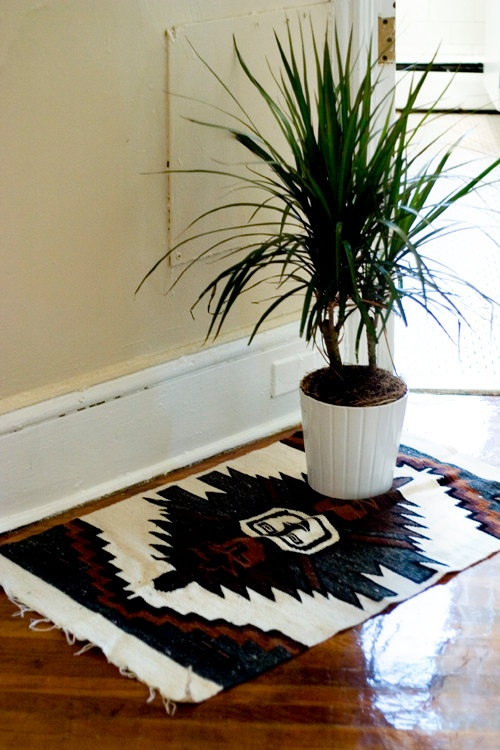 Woven Area Rug Southwestern Patterned Mat by blackoakvintage,