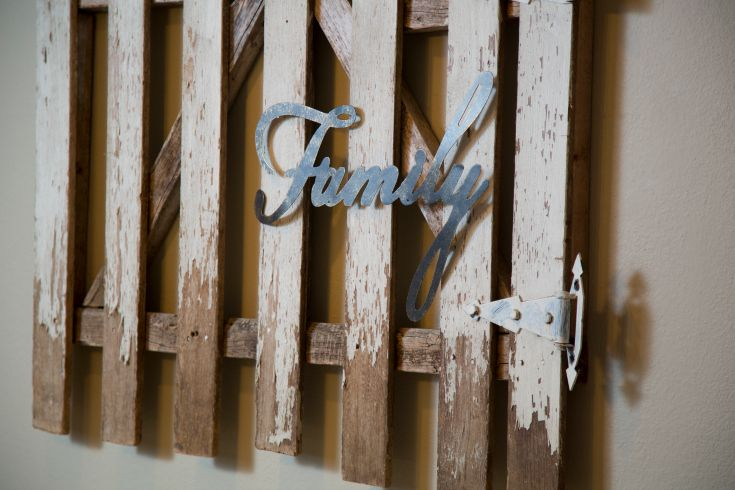 As seen on HGTV's Fixer Upper--> http://hg.tv/15yzk: Fence Signs, Command Center, Family Word, Design Decor, Country Living, Fence Gates, Family Room, Diy, Fixer Upper