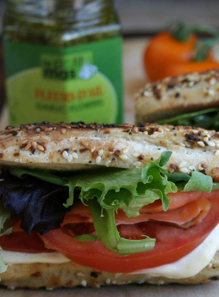 Recipe - Smoked fish, lettuce and tomato sandwich with garlic scape mayonnaise. Must try @LePetitMas fermented garlic scapes!