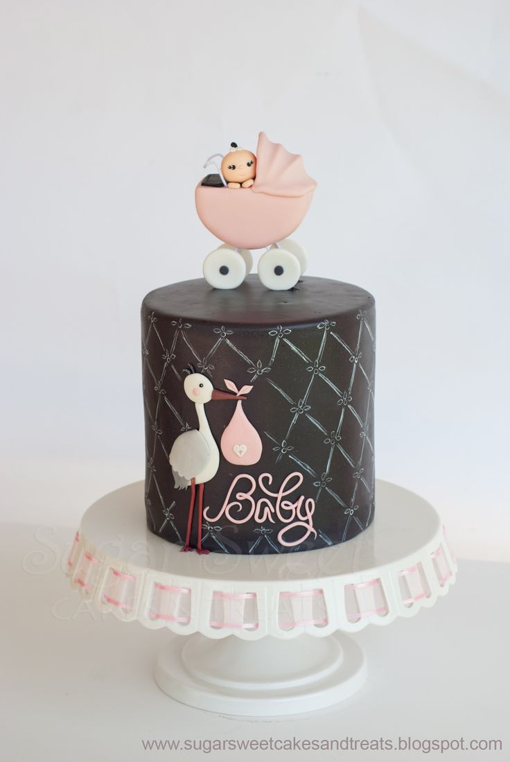 """Gray and Pink Baby Shower Cake - 6 inch round double barrel.  Gumpaste stroller, covered and decorated in MMF, hand painted """"chalk"""" design along the sides of the cake.  I also made 3 dozen cupcakes to match it."""