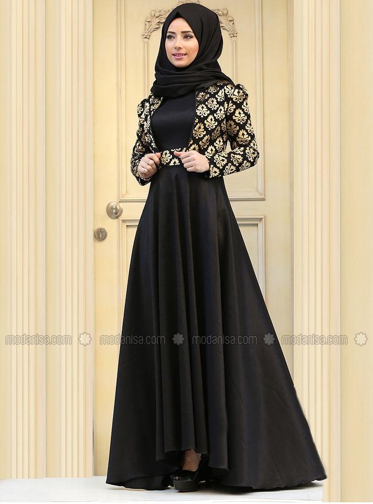 Pinterest: @eighthhorcruxx. Pandora Evening Dress - Black with gold embroidery - Zehrace