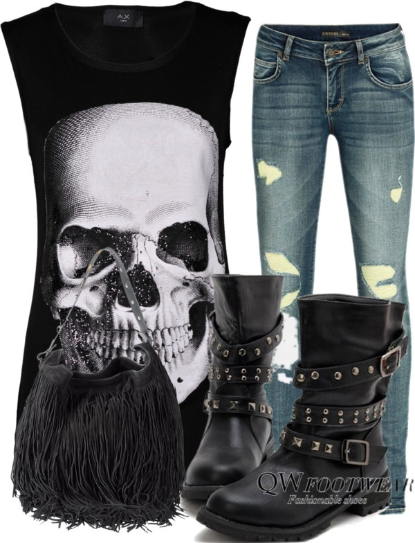 Skull Outfit, created by hardrokgurl on Polyvore- Love everything but the purse. Don't care for fringe.