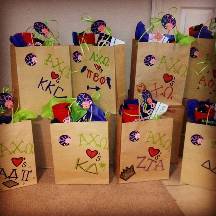 Drop off PR bags to all of the sororities on campus.  Panhellenic spirit!