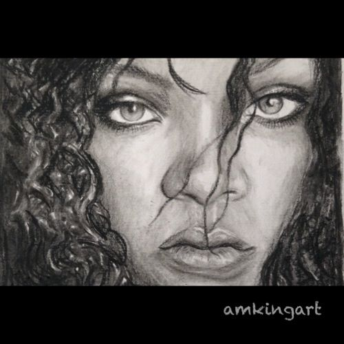 Rihanna in charcoal