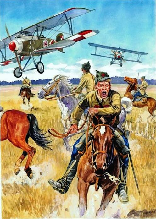 Szyszko, Marek (b,1951)- Airplanes Attacking Cavalry (Soviet-Polish War)