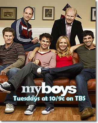 My Boys was a TBS TV series that aired from 2006-2010. Probably one of the more realistic portrayals of how a girl actually lives, and described as the anti-Sex and the City. Highly reccomended! -N.