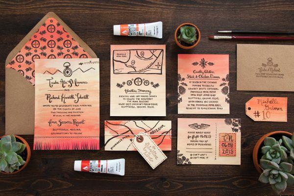 This Arizona Sunset #Wedding #Invitation is amazing! From http://ohsobeautifulpaper.com/2013/06/trisha-richards-arizona-sunset-wedding-invitations/  Invitation and Photo Credit: https://lovelypaperthings.squarespace.com/