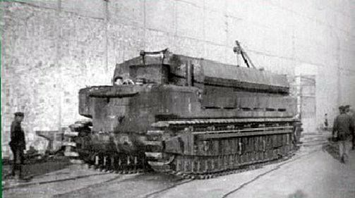 """French land tank amphibious machine FCM M1, was intended to overcome """"the Siegfried Line."""""""