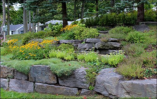 A rock garden is a great alternative to grass on a steep for Hillside rock garden designs