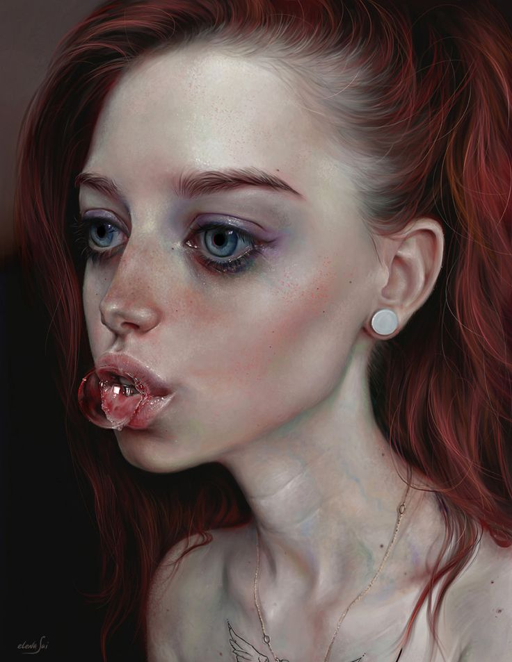"""Bubble"" - Elena Sai {figurative realism art female redhead gum dramatic woman face portrait digital painting} elenasai.deviantart.com"