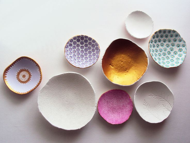 Handmade Air Dry Clay Bowls by eleinskingdom.  Different colors with abstract finish.