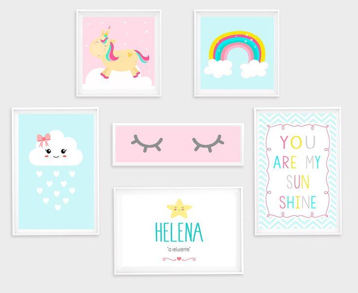 Linda composição de quadros personalizadas para a decoração do quarto da sua pequena e ainda outros ambientes infantis. ------ Você terá seis quadros fofolentos, sendo: Dois na medida 20x20 Três na medida A4 (20X30) uma na medida 30x10 Seis Imagens fofas. Características do produ...