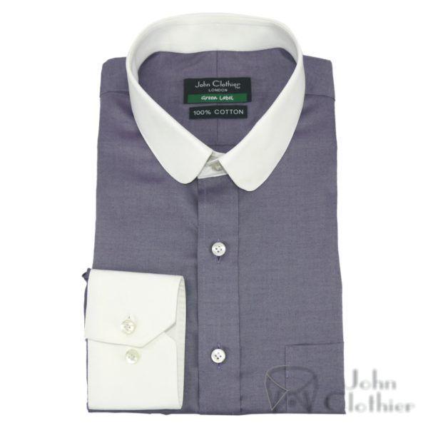 Grandad Penny collar Shirts Bankers Sky Blue melange Peaky Blinders Round Club