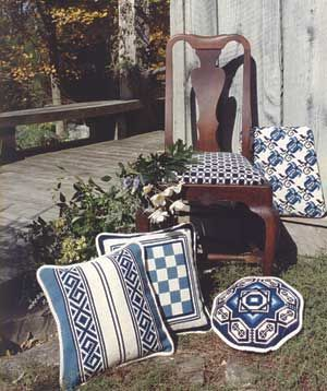 Blue and white - a group of patterns to stitch from the cross-point collection for pillows and upholstery