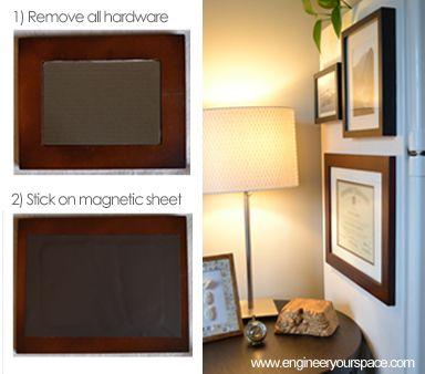 DIY magnetic picture frames for fridge