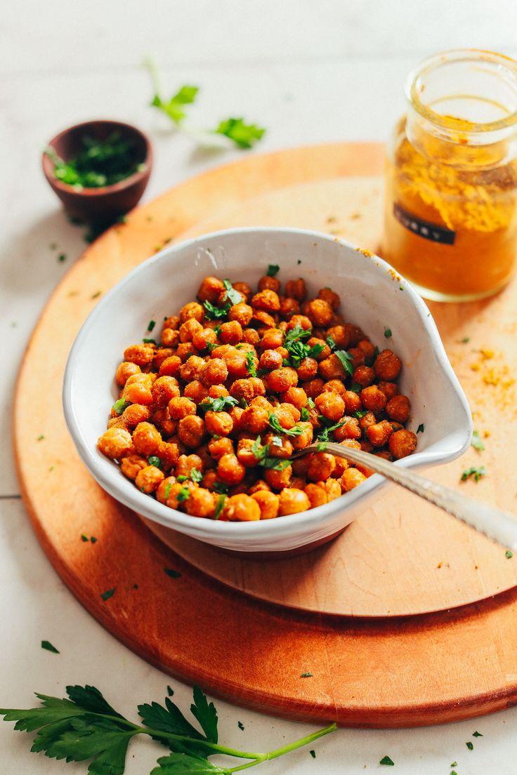 EASY Crispy Baked Chickpeas! The ultimate 4-ingredient snack with fiber, protein, and BIG flavor! #snack #vegan #glutenfree #chickpeas #minimalistbaker #recipe
