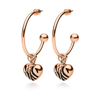 Jewellery - Zebra Earrings - Hoop earrings,IP rose gold plated with black ename