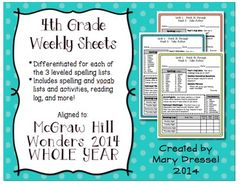 McGraw Hill Wonders - 4th Grade (Unit 1) Weekly Spelling, Vocab, and More! from 4th Works! on TeachersNotebook.com (45 pages)