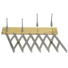 If you always have a heck of time trying to figure out equal spacing for things like coat hooks and shelf locations, check out the Point 2 Point Mk2 layout tool from M-Powertools. The Mk2 is an accordion-like apparatus with seven adjustable marking points. Just stretch it out so the distance between the marking points (or every two or three marking points) is the proper space you need, tighten the pinch bolts and mark the locations on your project. You can also use it to space fasteners…