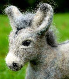 Needlefelt donkey custom order. Needle felted animal by Artywool