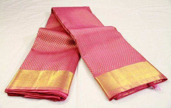 Rose Pink Brocade Pure Kanchipuram Silk Saree   Temple Of Kanchi Sarees, Temple Jewellery, Pure Silk, Kanchipuram