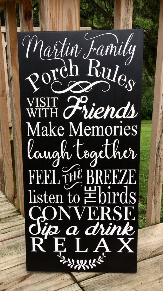Porch Sign Porch Rules Sign Front Porch Decor Summer Outdoors Welcome To Our Porch Signs Personalized Front Porch Rules Sign Front Porch Signs Porch Signs