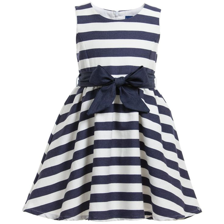 Very pretty girls sleeveless dress by <span>Papermoon with all over navy blue and ivory stripes giving it a nautical feel. Made from a soft cotton and linen blend it is fully lined, so soft and comfortable against the skin. It has a fitted bodice and gathered skirt giving it a full, flared shape. Fastening with a concealed zip, it comes with a detachable sash style belt. <br /></span> <ul> <li>67% cotton, 22% polyester, 11% linen (soft, linen textured feel)</li> <li>Lining: 100% cotton (soft…
