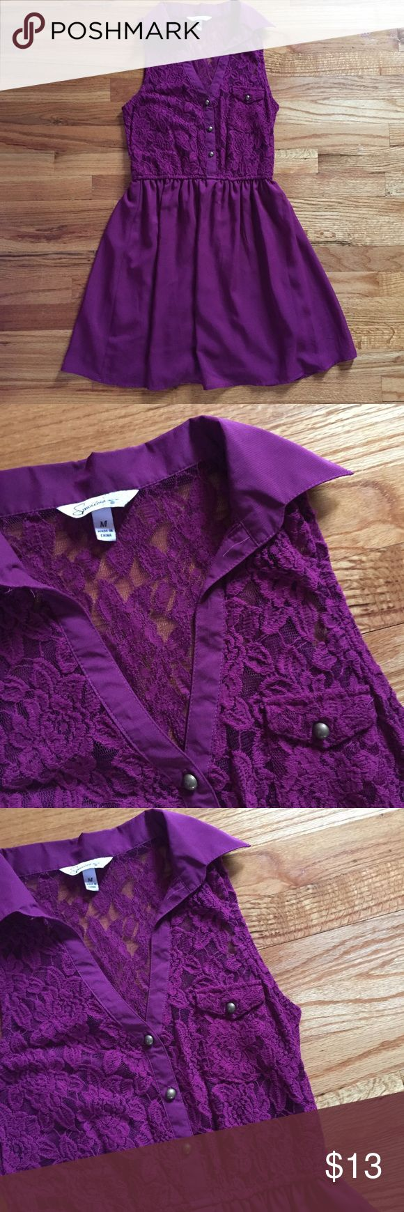 SPEECHLESS Purple Lace Dress in great condition! the top part is lace and has a attached cami underneath. super cute casual dress! brand is speechless 🌙✨ Speechless Dresses