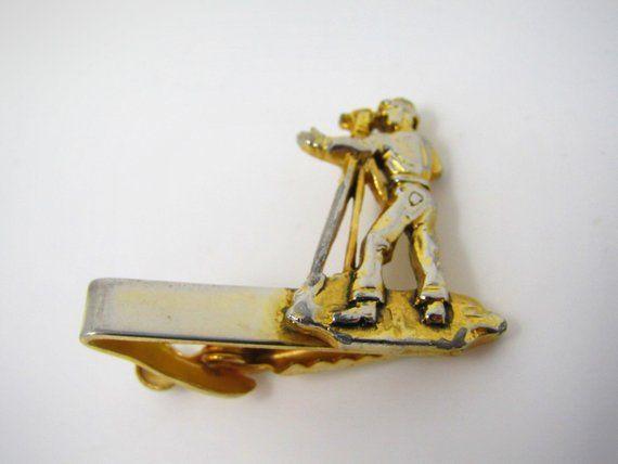 Excellent Classic Grooved Tie Clip Men/'s Vintage Tie Bar Gold Tone