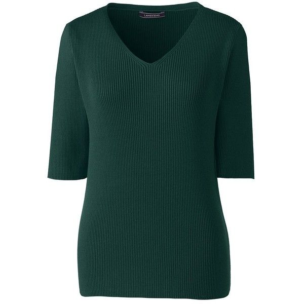 Lands' End Women's Petite Cotton Elbow Sleeve Rib V-neck Sweater ($49) ❤ liked on Polyvore featuring tops, sweaters, green, low v neck sweater, petite tops, elbow sleeve tops, petite sweaters and green top