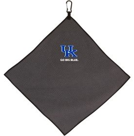 Add a flash of team sprit to your golf accessories with the Kentucky Wildcats Microfiber Golf Towel. Constructed of soft material, this towel features a waffle weave design to ensure efficient debris removal without damage to the club finish. A durable carabiner clip securely attaches to your golf bag to keep your towel accessible and pride visible. An embroidered, full-color school logo completes the Team Effort Microfiber Golf Towel.