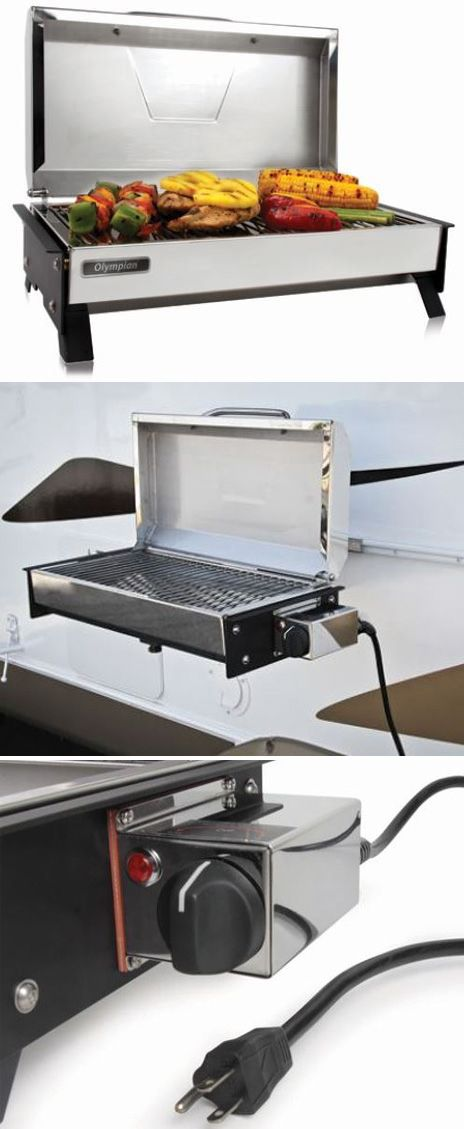This stainless steel, electric grill is compact, portable, and perfect for use with your RV. Plugs into any standard 120V electrical outlet and provides 145 sq in of cooking surface. Set up using the folding legs or mount to your RV.