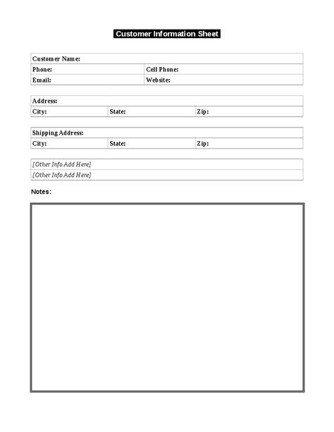 Use this simple customer information template to keep a record of your customers' important information. This document is also called a customer profile sheet.