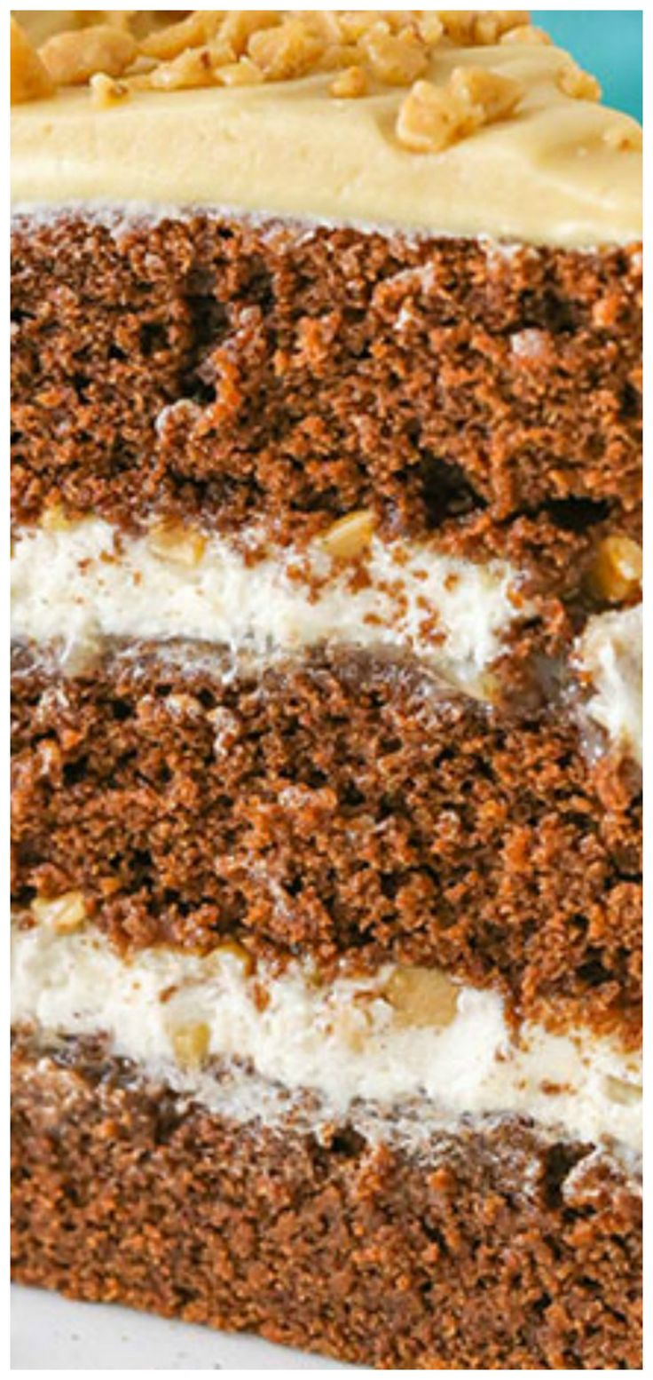 Bourbon Spice Toffee Layer Cake ~ The combination of chocolate, toffee, maple, cinnamon and the spice from the bourbon are a party for the taste buds.