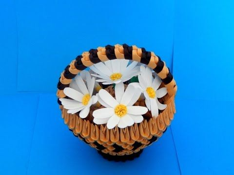 3d origami small basket tutorial (daisy flowers) - YouTube