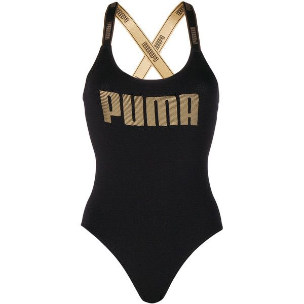 Puma gold-tone logo swimsuit ($28) ❤ liked on Polyvore featuring swimwear, one-piece swimsuits, black, puma swimsuit, swimming costume, swim suits and puma swimwear