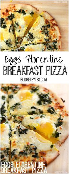 This creamy Eggs Florentine Breakfast Pizza combines a garlicky white sauce, mozzarella, spinach, and a perfectly silky yolk for an easy yet stunning meal. @budgetbytes