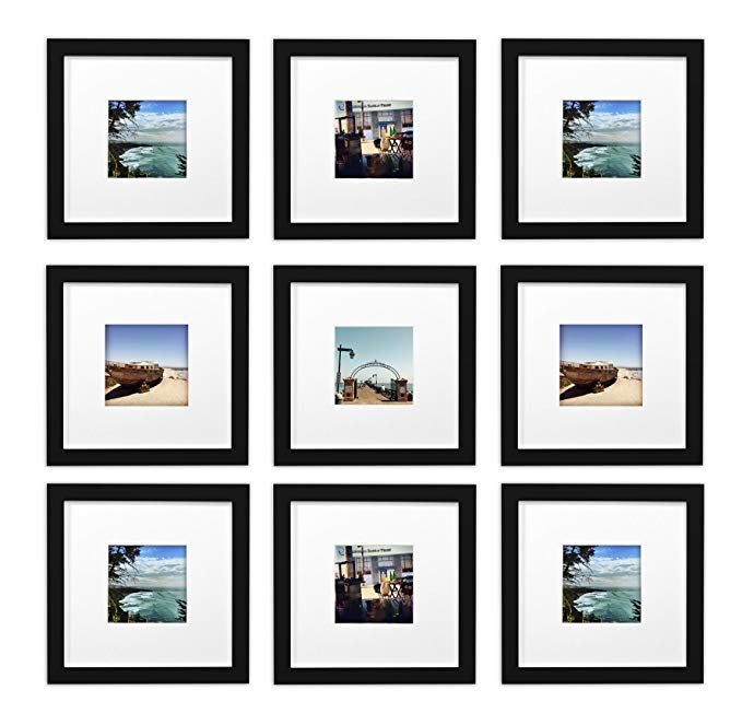 Golden State Art Smartphone Instagram Frames Collection Set Of 9 8x8 Inch Square Photo Wood Frames White Picture Frame Wall Diy Picture Frames Frames On Wall