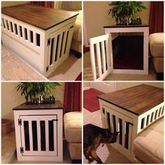 Puppy has a new crate! Instead of spending $200+ on one of these at the store, I just built one using a tutorial from Ana White! Soo much better than a wire crate sitting in the living room :)