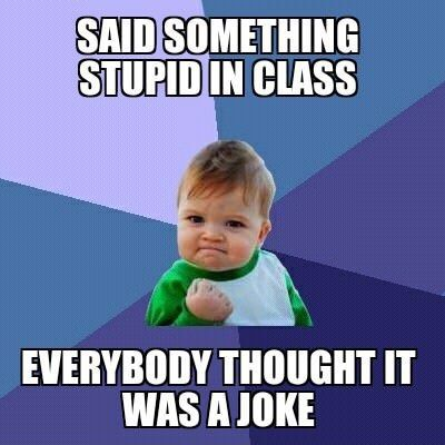 funny caption picture baby fist pump said something stupid in class everyone thought it was a joke