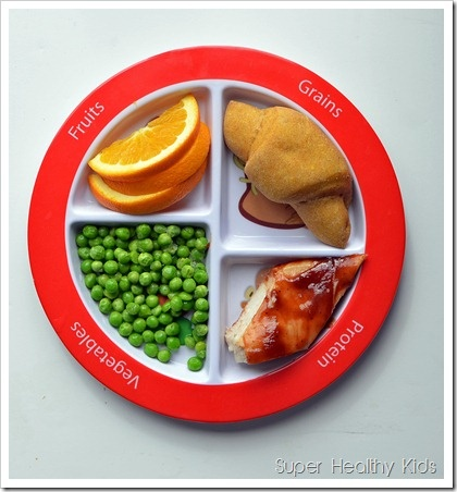 Colorful dinner on #myplate. Sweet potato crescent rolls, BBQ chicken, peas, and oranges!