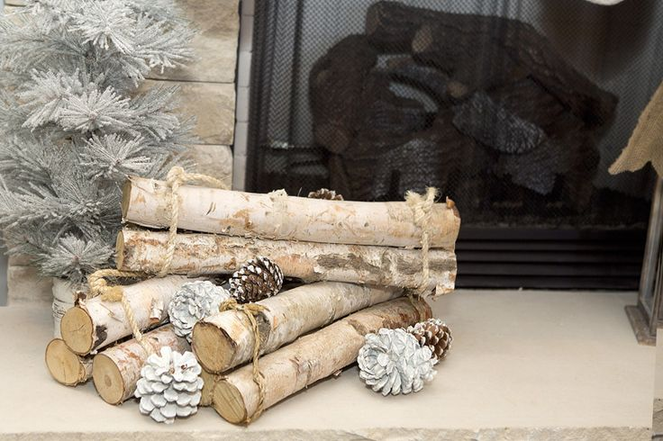 Birch Wood Fireplace Decoration To Match My Rustic