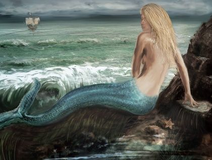 Mermaid waiting - quality print of an illustration by Owen M Smith
