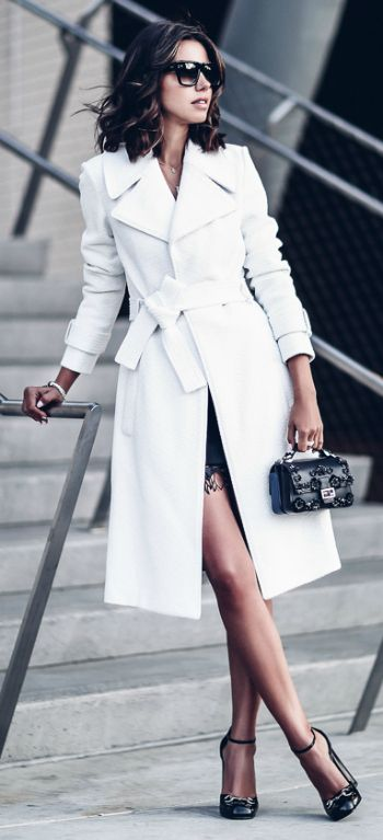 A bright white trench + absolute statement + endless glamour + skirt + trousers + dress + wonderful, elegant aesthetic + Annabelle Fleur.   Coat: A.L.C Richard, Dress: Jamie, Heels: Gucci. #coats #chic