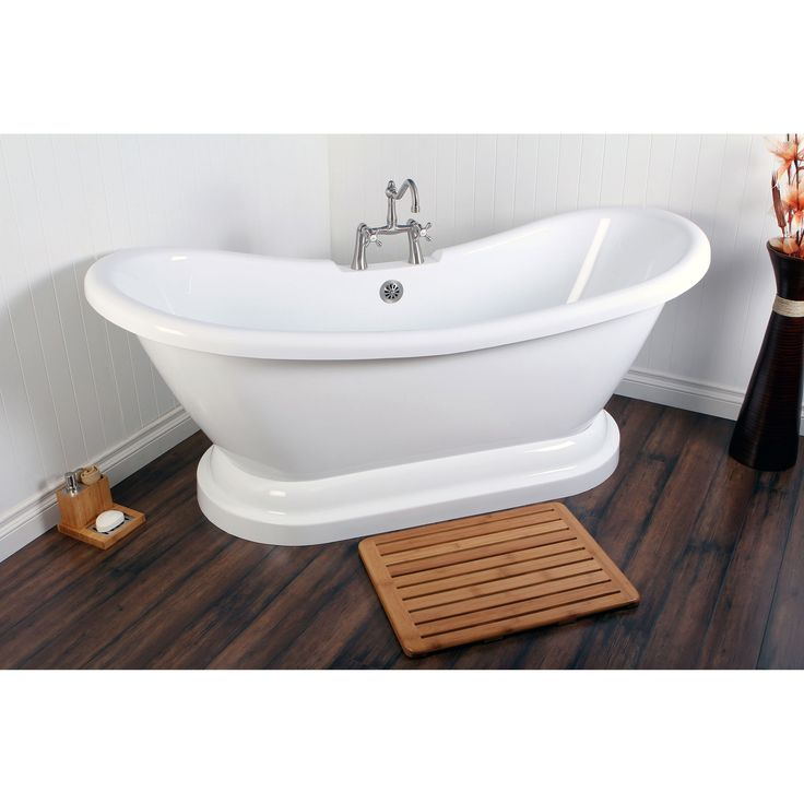 Relax in bath-time luxury with this large pedestal bathtub made of durable white acrylic that is smooth to the touch and easy to clean. This traditional-style tub holds up to 55 gallons of water, and it has pre-drilled drain and overflow holes.