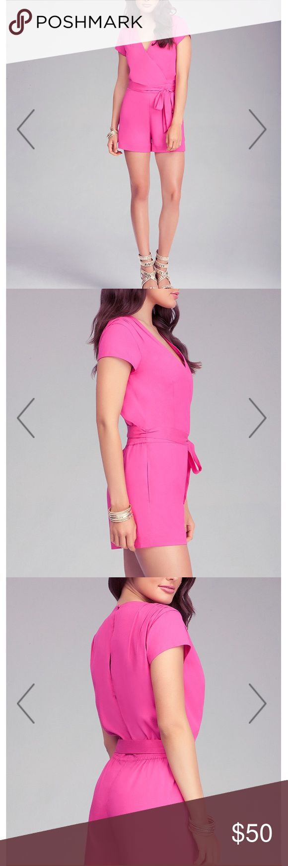 Bebe Hot Pink Romper Show off your legs in this flirty eye catching romper. pair with strapping heels and a metallic clutch for a fun night out. Waist sash not included. bebe Dresses