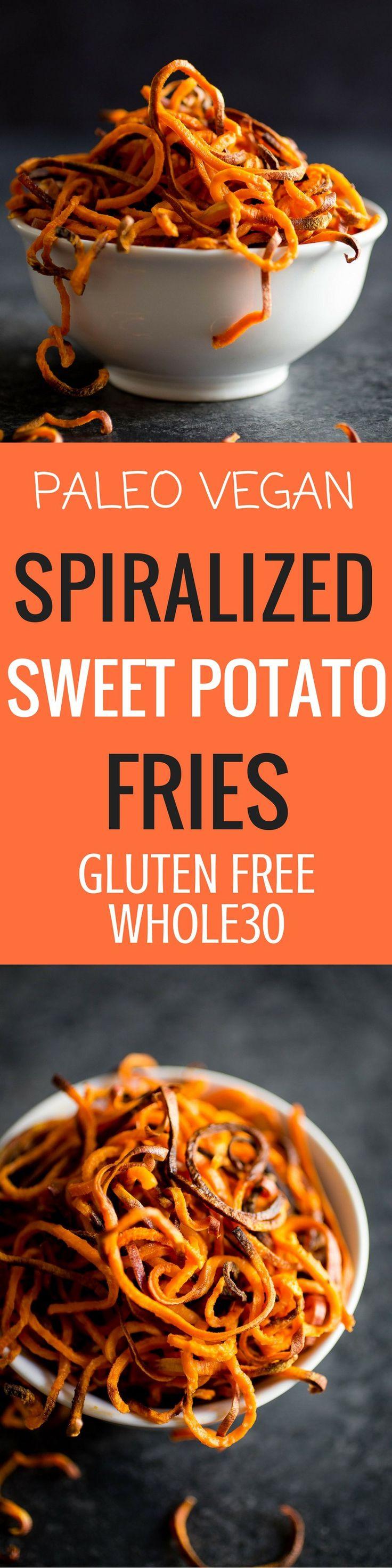 Best Paleo Sweet potato fries. Spiralized sweet potato fries. Paleo sweet potato recipes. Easy spiralized recipes.
