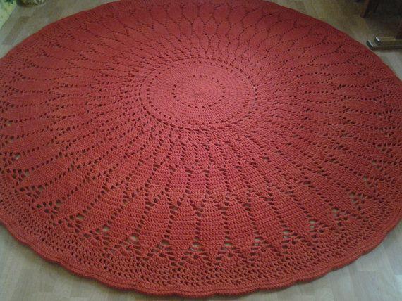 Crochet doily round rug 102 ''260 cm/Crochet by AnuszkaDesign