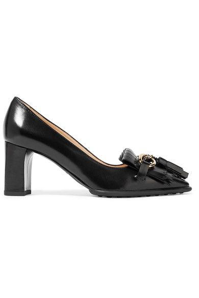 Tod's - Fringed Leather Pumps - Black - IT38.5