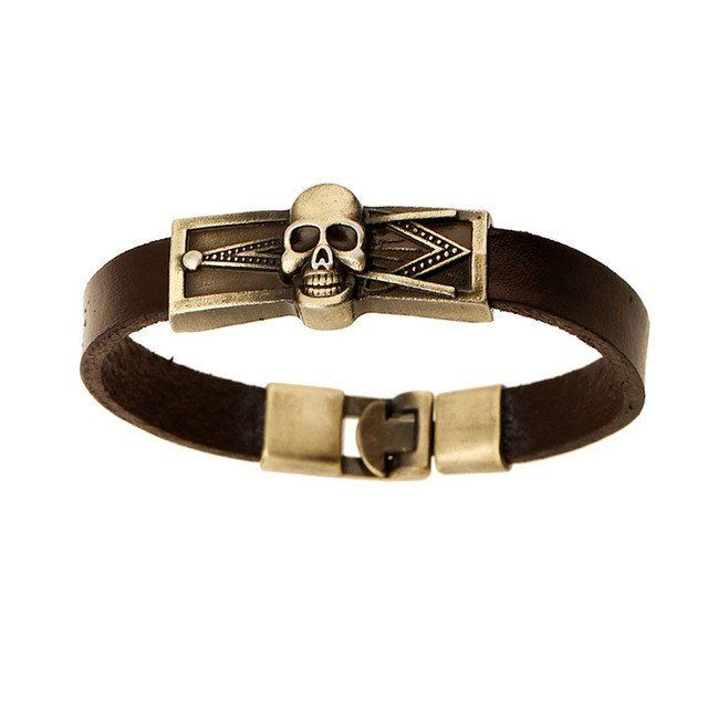 Brown Genuine Leather Bracelet With Skull